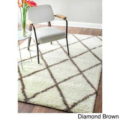 Moroccan Trellis Shag Rug (8' x 10') - Diamond brown - Overstock