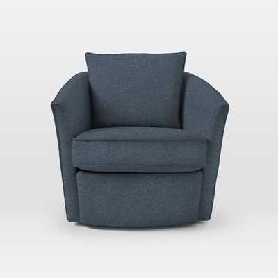 Duffield Swivel Chair - Twill, Indigo - West Elm