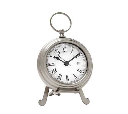 Pocket Watch Clock, Small, Polished Nickel - Pottery Barn