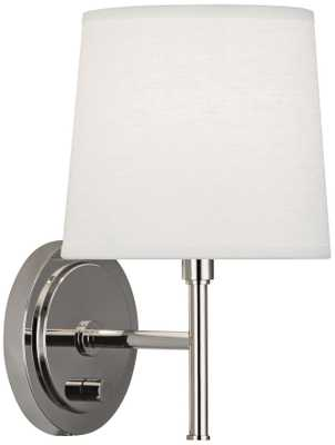Robert Abbey Bandit Polished Nickel Plug-In Wall Sconce - Lamps Plus