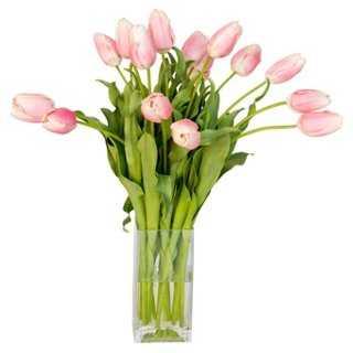 "21"" Tulips in Cube Vase, Faux - One Kings Lane"