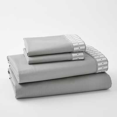 Coyuchi Organic Dobby Cuff Sheet Set, Queen, Gray - West Elm