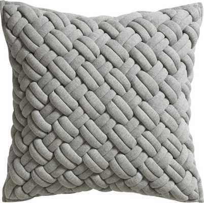 "Jersey interknit 20"" pillow with Down-alternative insert, Grey - CB2"