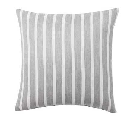 "Sunbrella® Brice Stripe Indoor/Outdoor Pillow - Gravel Gray/Ivory - 20"" sq. - Polyester fill - Pottery Barn"