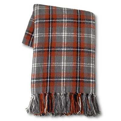 "Thresholdâ""¢ Chenille Plaid Throw - Red/Gray 50""X60"" - Target"