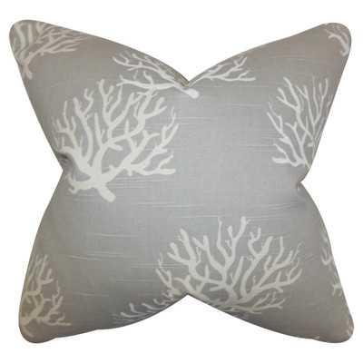 "Tamarac Cotton Throw Pillow- Grey- 18"" H x 18"" W- Down/Feather insert - Wayfair"