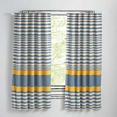 """63"""" Yellow Fine Lines Curtain - Land of Nod"""