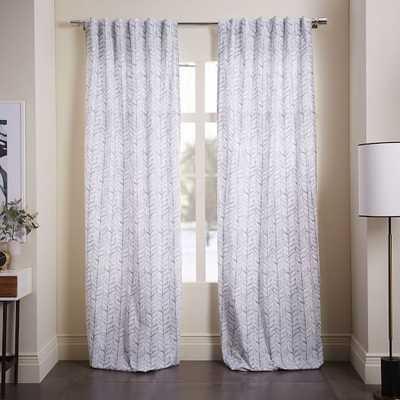 """Cotton Canvas Vine Leaves Curtain - 96""""l x 48""""w - Ash Blue - West Elm"""