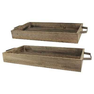 Rustic Wood and Metal Trays set of 2 - Target