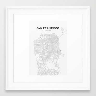 "San Francisco Map- 12"" X 12""- Framed - Society6"