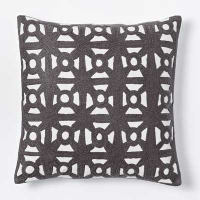"""Modern Crewel Lattice Pillow Cover-18""""sq-Slate-without insertc - West Elm"""