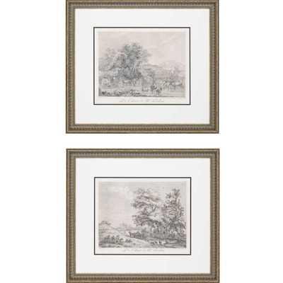 """Landscapes Exclusive by Le Veau 2 Piece Framed Painting Print Set-  28"""" H x 32"""" W x 1"""" D - Wayfair"""