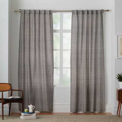 "Cotton Canvas Bracket Geo Curtain - Slate - 96"" - West Elm"