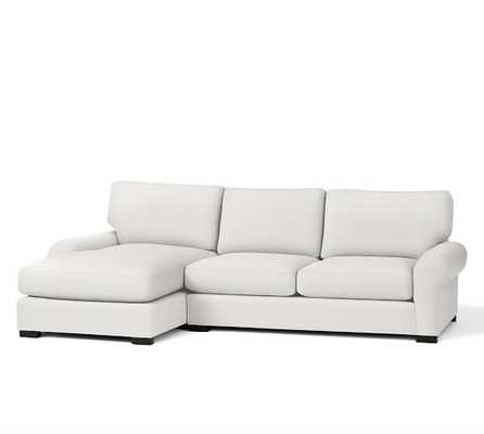 Turner Roll Right Arm Loveseat With Chaise - Performance Canvas, Warm White - Pottery Barn