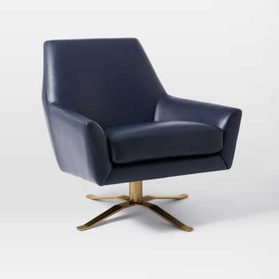 Lucas Leather Swivel Base Chair - Navy - West Elm