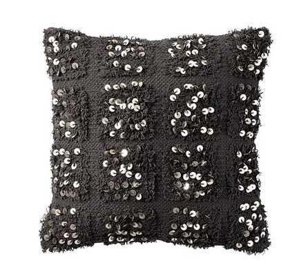 "Navy Moroccan Wedding Blanket Pillow Cover-Gray - 18"" sq -No Insert - Pottery Barn"