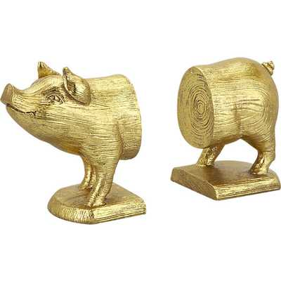 Set of 2 pig bookends - CB2