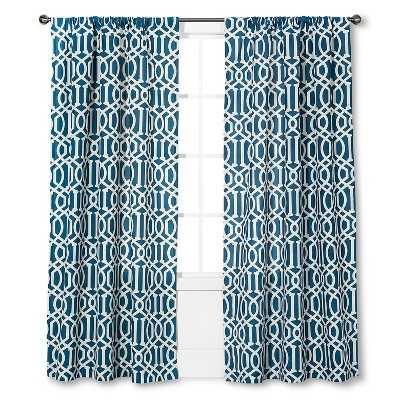 "Thresholdâ""¢ Farrah Lattice Curtain Panel - Blue (54x84"") - Target"