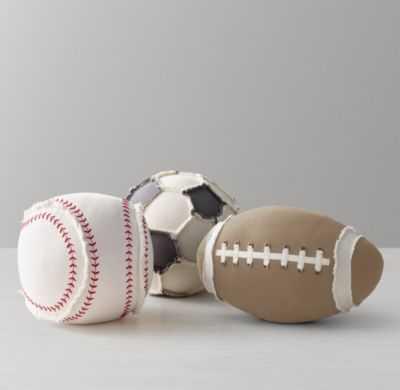 "Sports ball pillow - Baseball - 9½"" diam. - polyester fill - RH Baby & Child"