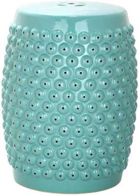 Stella Nailhead Garden Stool in LIght Blue - Domino