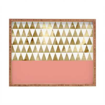 Gold triangles Rectangular Tray - Wander Print Co.