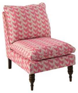 Bacall Slipper Chair, Pink Jetty Stripe - One Kings Lane