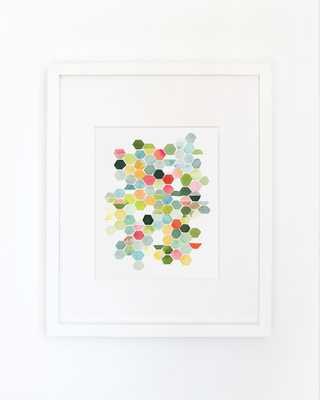 "Hexagons in Summer- Watercolor Art Print- 16""x20""- Framed - Etsy"