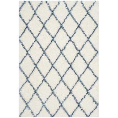 "Moroccan Shag Ivory & Blue Geometric Contemporary Area Rug - 5'1"" x 7'6"" - Wayfair"