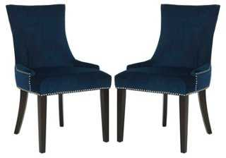 Navy Lydia Dining Chairs, Set of 2 - One Kings Lane