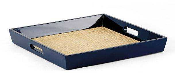 Navy Lacquer Rattan Tray - Domino