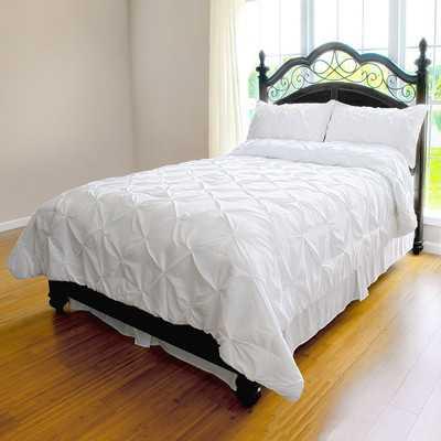 Pinch Pleat Duvet Cover Set - Full; White - Wayfair