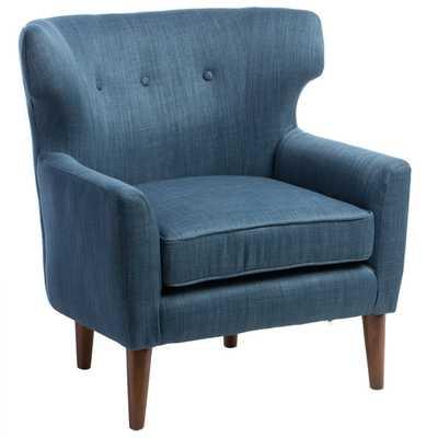 Mid-century Blue Linen Wing Chair - Overstock