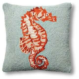 Seahorse 16x16 Wool Pillow, Orange - Polyester Insert - One Kings Lane
