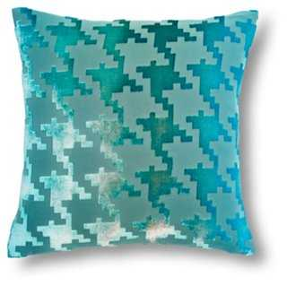 Houndstooth 16x16 Velvet Pillow, Aqua - One Kings Lane