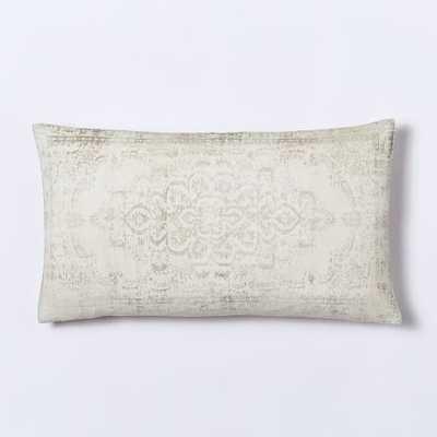 "Velvet Arabesque Pillow Cover - Ivory-12""w x 21""l-without insert - West Elm"
