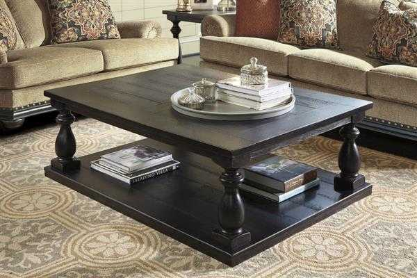 Mallacar Vintage Casual Black Rectangular Cocktail Table - theclassyhome.com