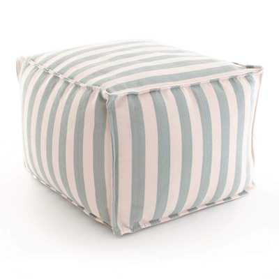 TRIMARAN STRIPE LIGHT BLUE/IVORY INDOOR/OUTDOOR POUF - Pine Cone Hill