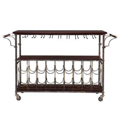 Upton Home Tuscany Espresso/ Black Wine/ Bar Cart Serving Table - Overstock