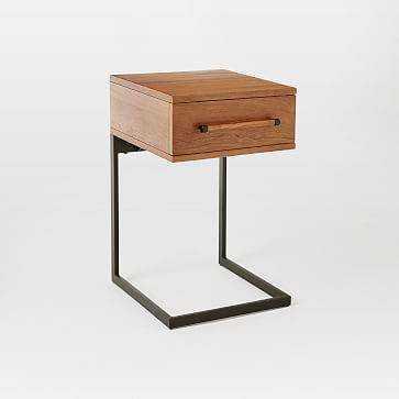 Nash Metal + Wood Curved Nightstand, Teak - Domino