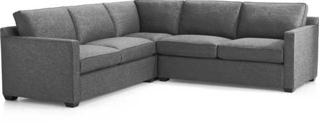 Davis 3-Piece Sectional Sofa - Ash - Crate and Barrel