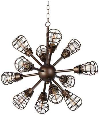 """Bendlin Industrial 34"""" Wide 12-Light Bronze Chandelier - Lamps Plus"""