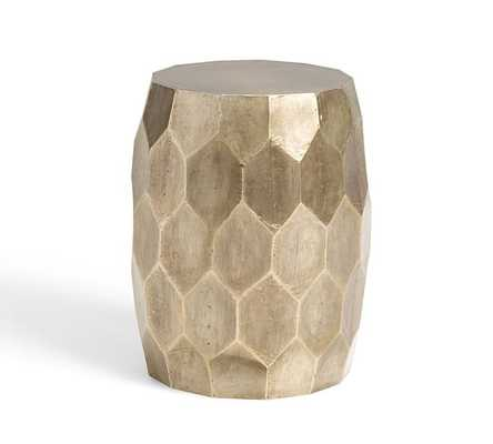 VINCE METAL-CLAD ACCENT STOOL -  BRUSHED SILVER - Pottery Barn