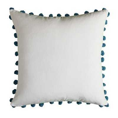"""Rizzy Home Poms Throw Pillow Ivory/Blue-18''x 18""""-Polyester insert - Target"""