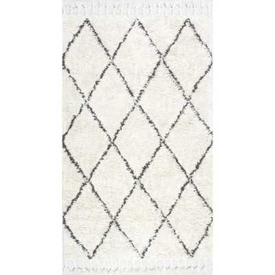 Hand-knotted Moroccan Trellis Natural Shag Wool Rug - 8' x 10' - Overstock