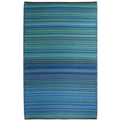 Turquoise & Moss Green Cancun Stripe Outdoor Area Rug - Wayfair