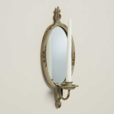 Distressed Gray Aria Oval Mirror Sconce - World Market/Cost Plus