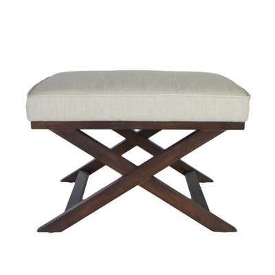 Traditional Cross Legs Ari Beige Linen X Bench Ottoman - Overstock
