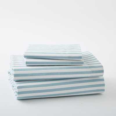 Organic Mod Stripe Sheet Set - King - Light Pool - West Elm