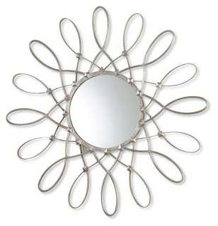 "40"" Iron Loop Sunburst Mirror, Nickel - One Kings Lane"