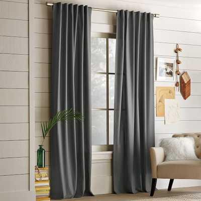 """Cotton Canvas Curtain - Steel - 48""""w x 108""""l. - West Elm"""